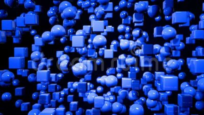 Motion graphics 3d looped animation as geometric blue background in 4k with  simple objects and depth of field  Dark  Futuristic, composition