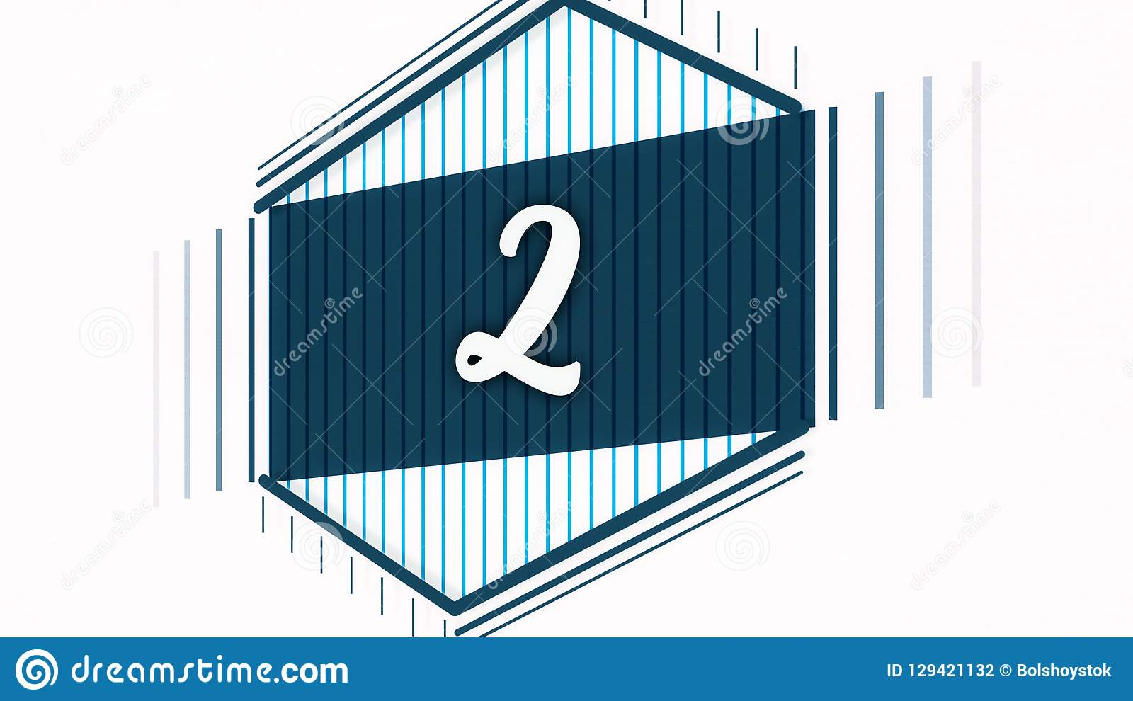 Motion graphics flat morphing animation for opening video. Animation of number two