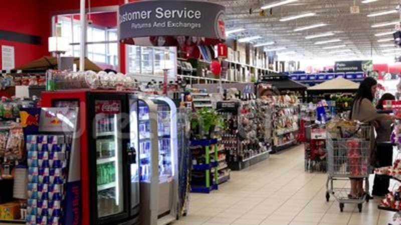 Motion of people shopping inside Canadian tire store