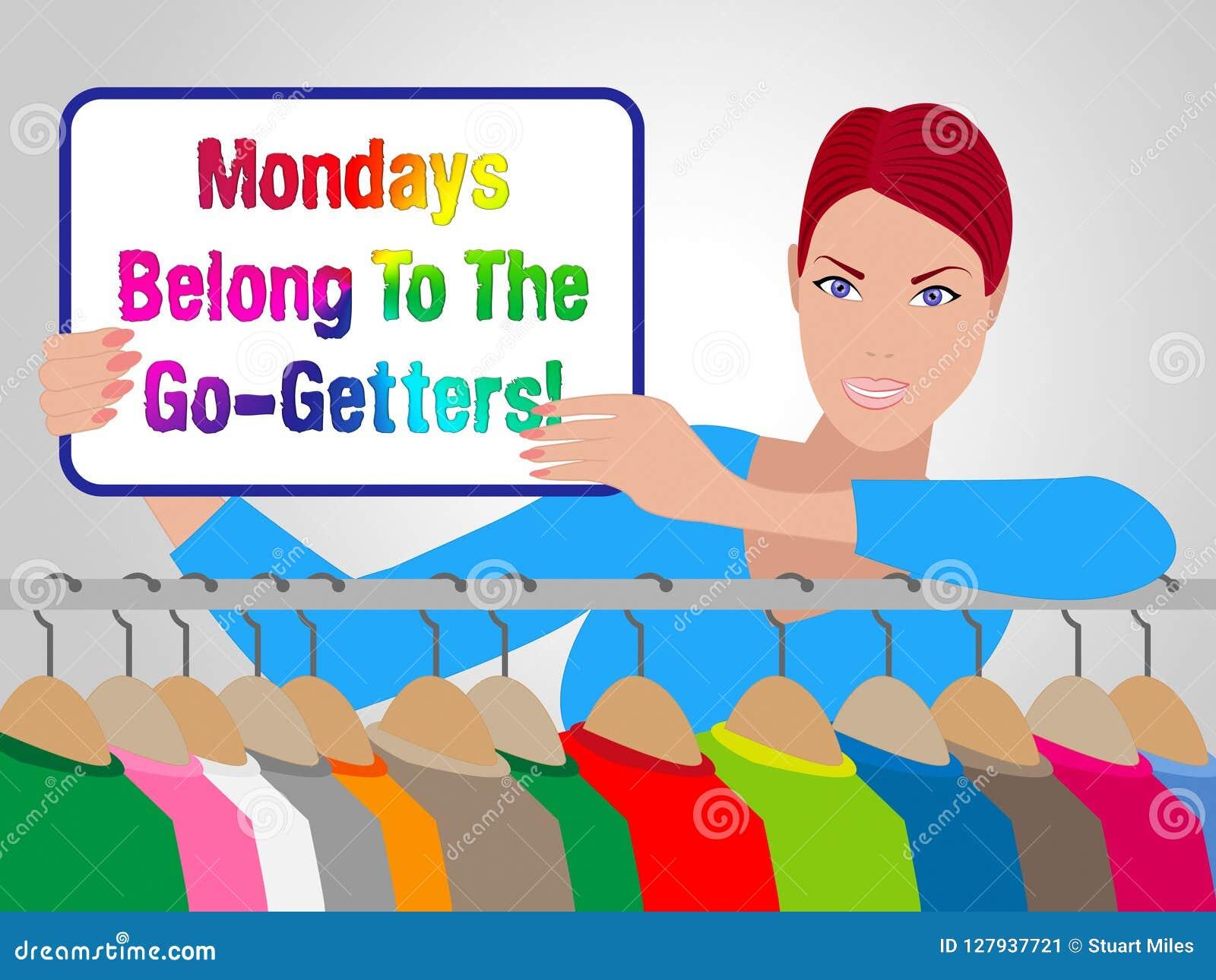 Motivación de las ventas de lunes - dependienta Holding Sign - 3d Illustrat