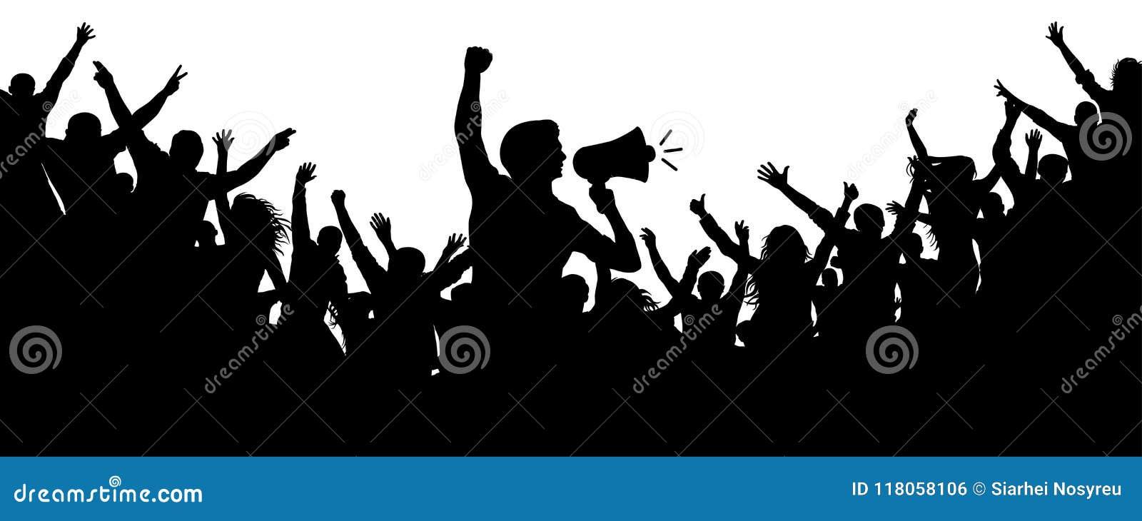 Multitud De Gente Silueta: Motivador Humano Muchedumbre De Vector De La Silueta De La