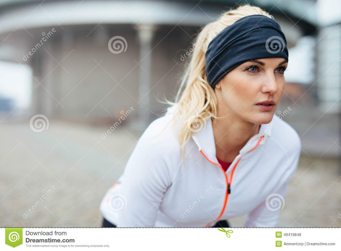 Motivated and focused sporty woman