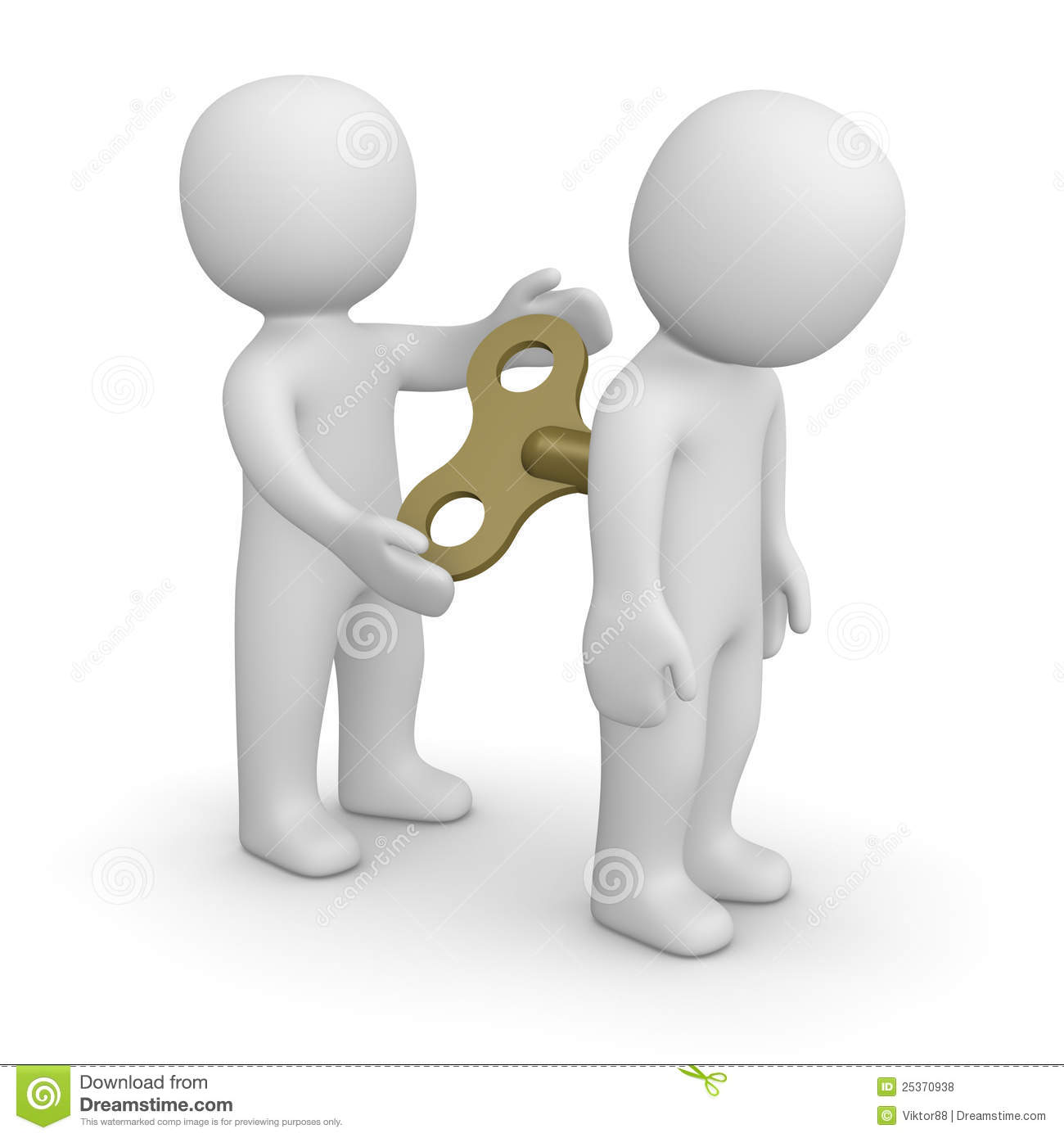 3d man encouraging his partner by key for mechanical toy.