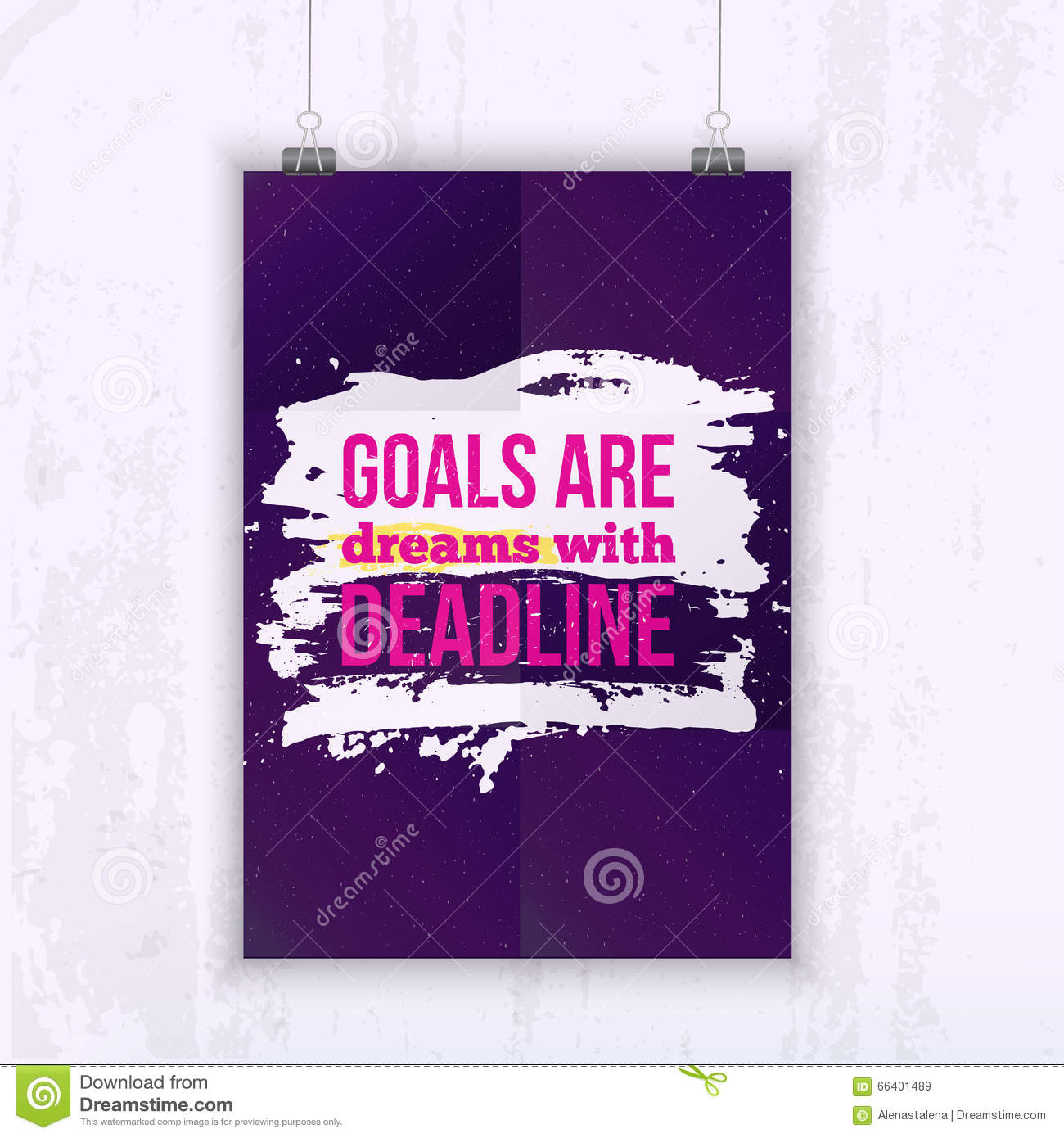 Poster design business - Motivation Business Quote Goals Are Dreams With Deadline Poster Design Concept On Dark Paper