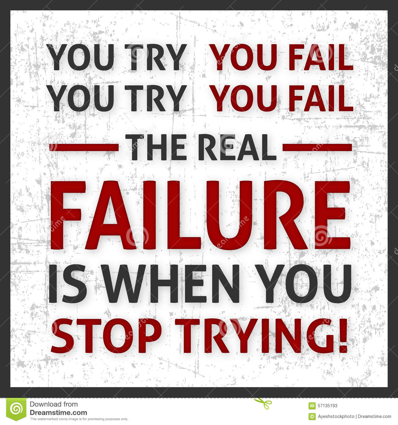 Inspirational Quotes About Failure: Motivation Poster Stock Illustration