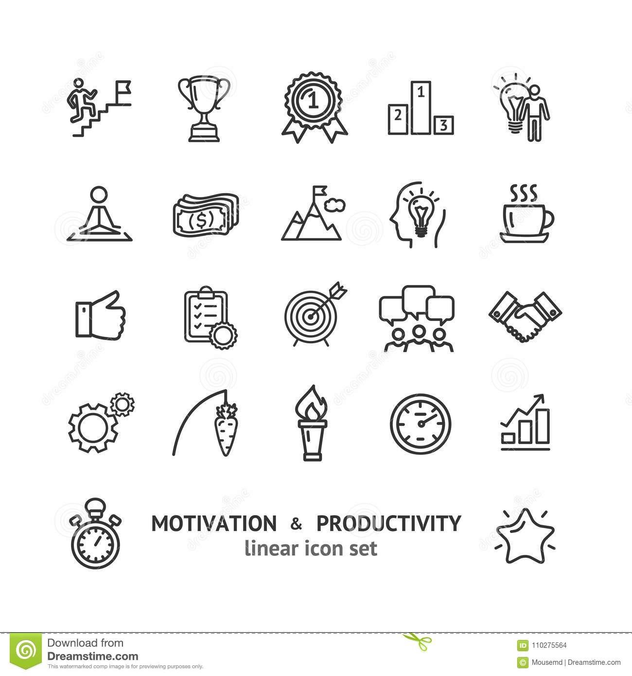 Motivation and Productivity Signs Black Thin Line Icon Set. Vector