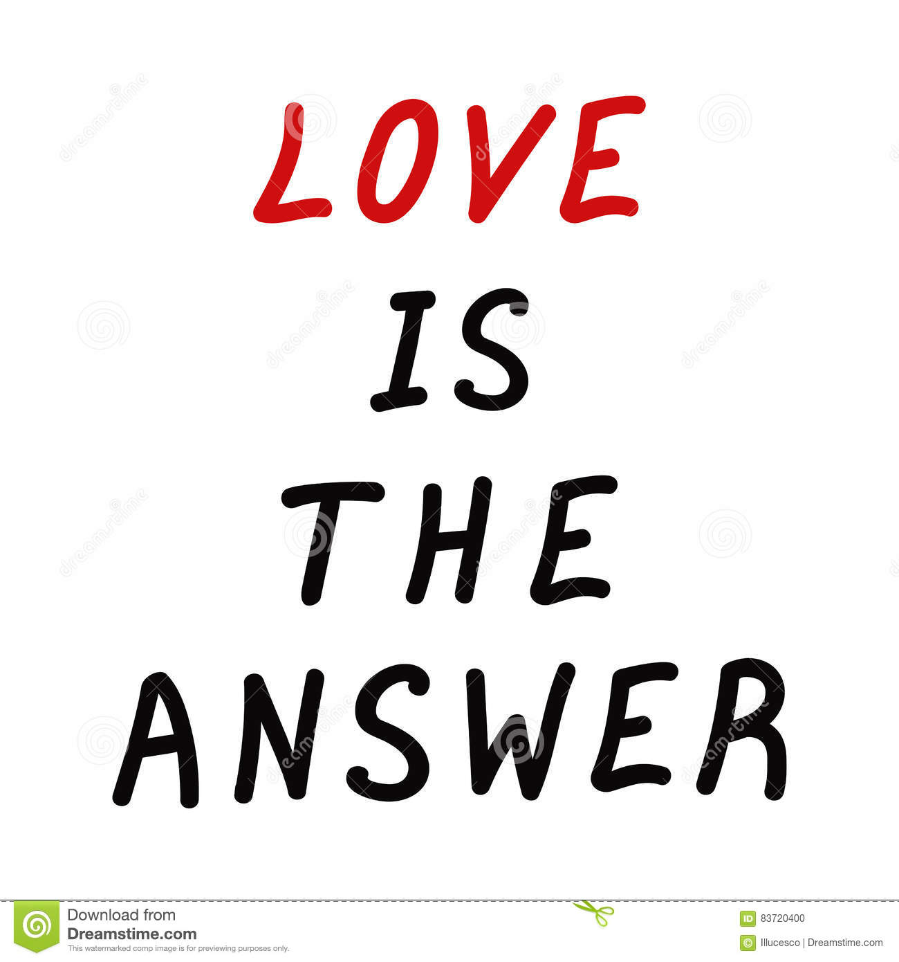Motivation Quote Love Is The Answer Stock Vector Illustration