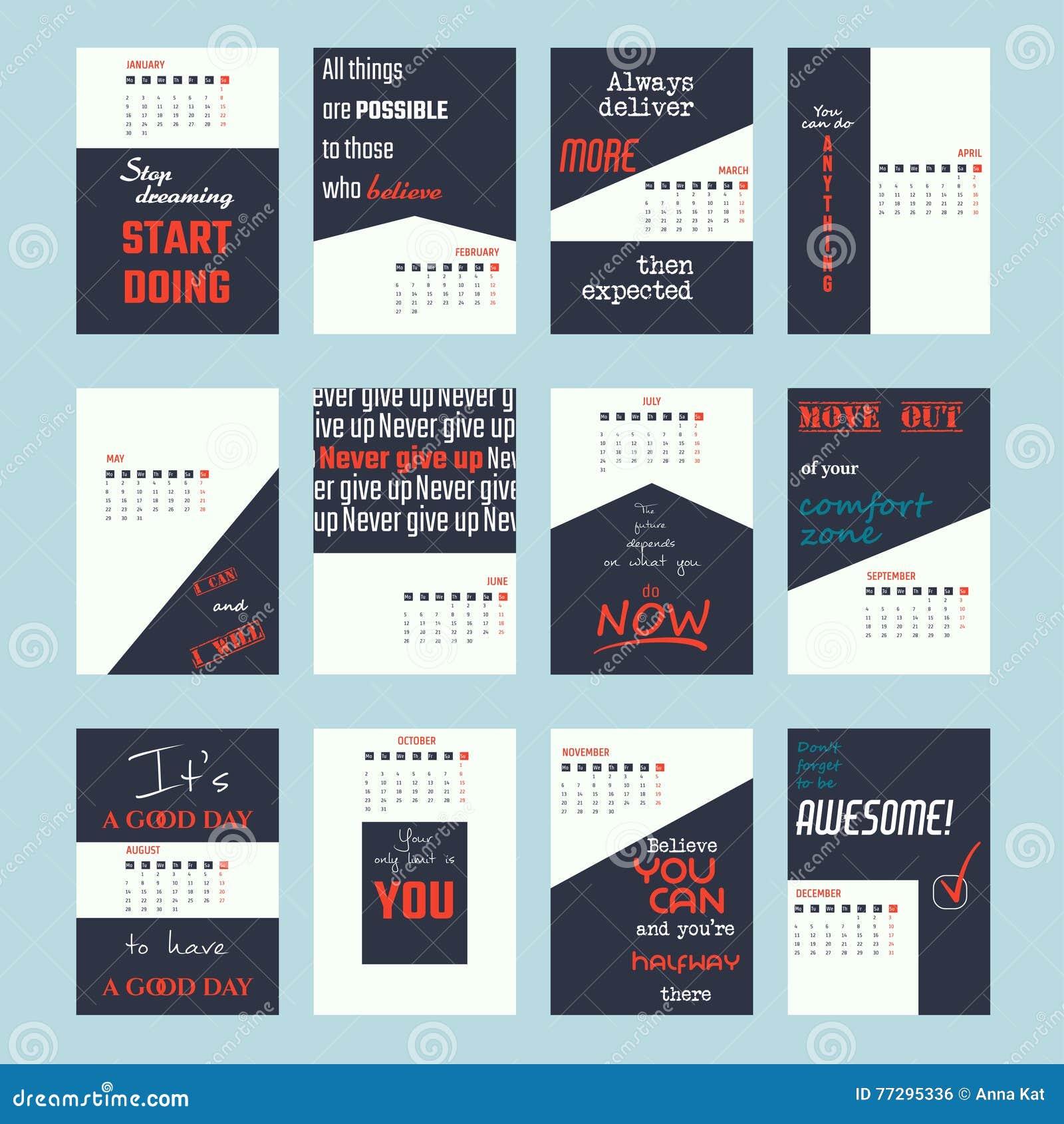 Calendar Layout Design Inspiration : Motivation quotes calendar stock vector image