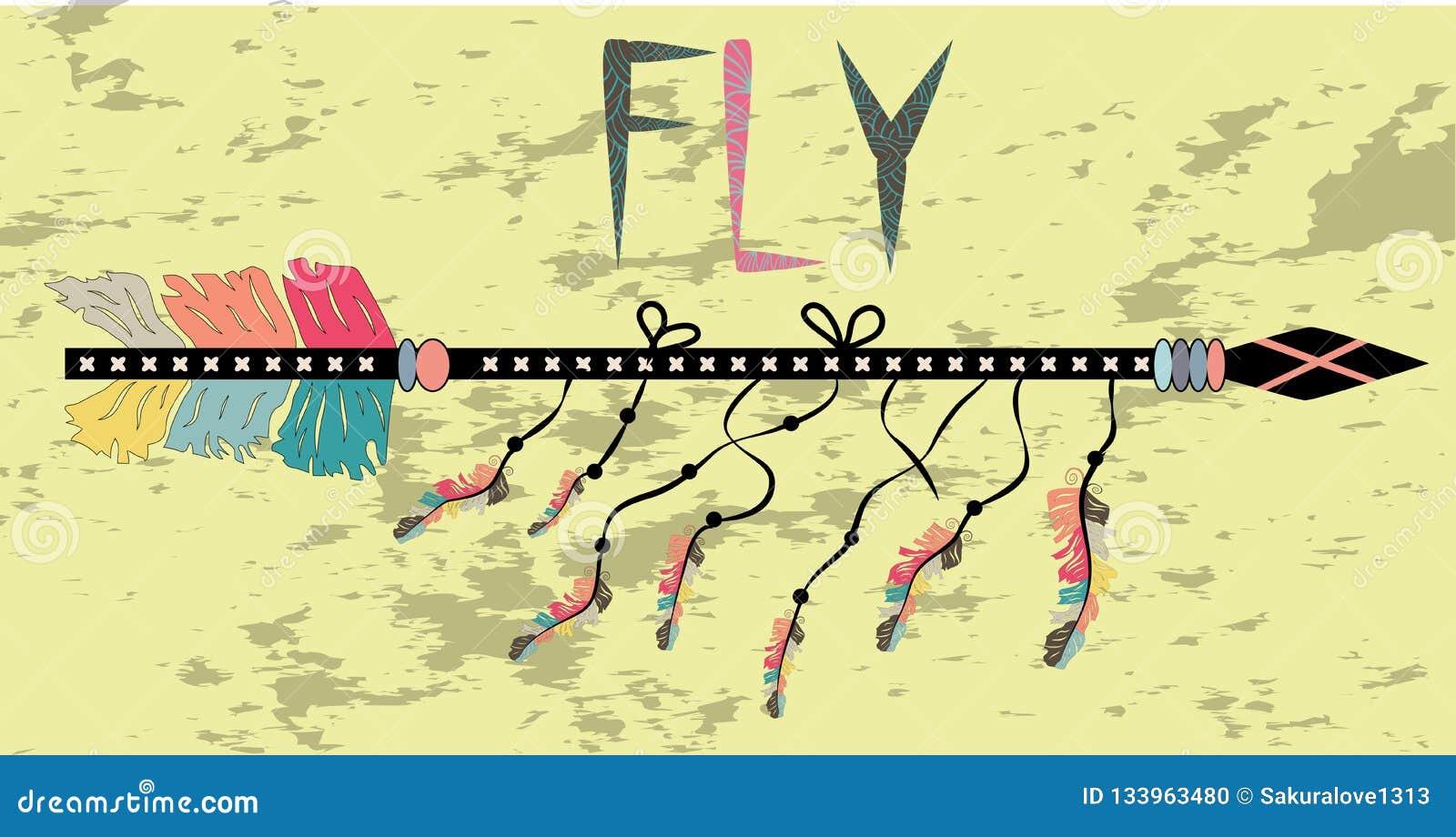 Motivational affisch i den Boho stilflugan Pil och bokstäver