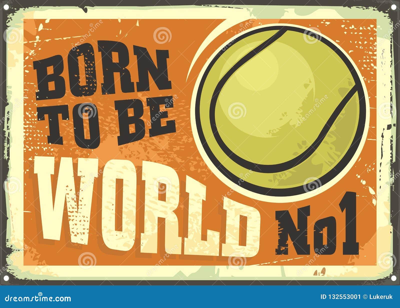 Motivational affischdesign med tennisbollen och inspirerande citationstecken