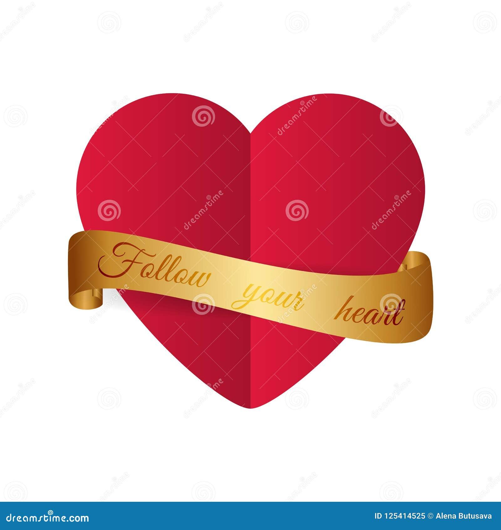 Motivational design Röd hjärta för papperssnittstil med guld- ribbo