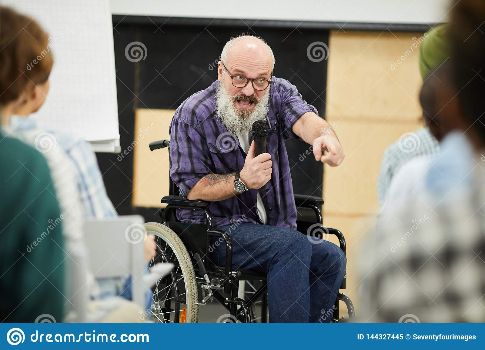 Motivational disabled speaker at conference