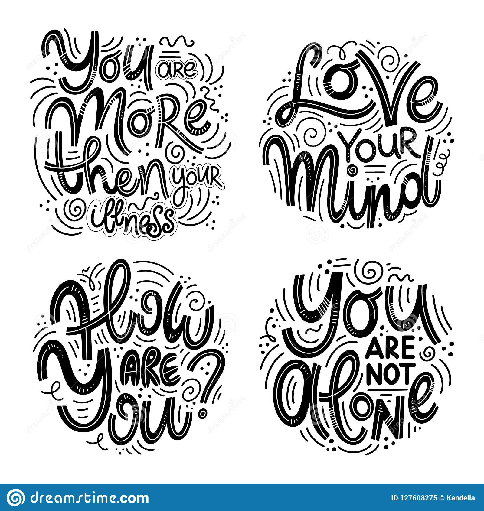 Inspirational Quotes For Mental Health Day. Stock Vector ...
