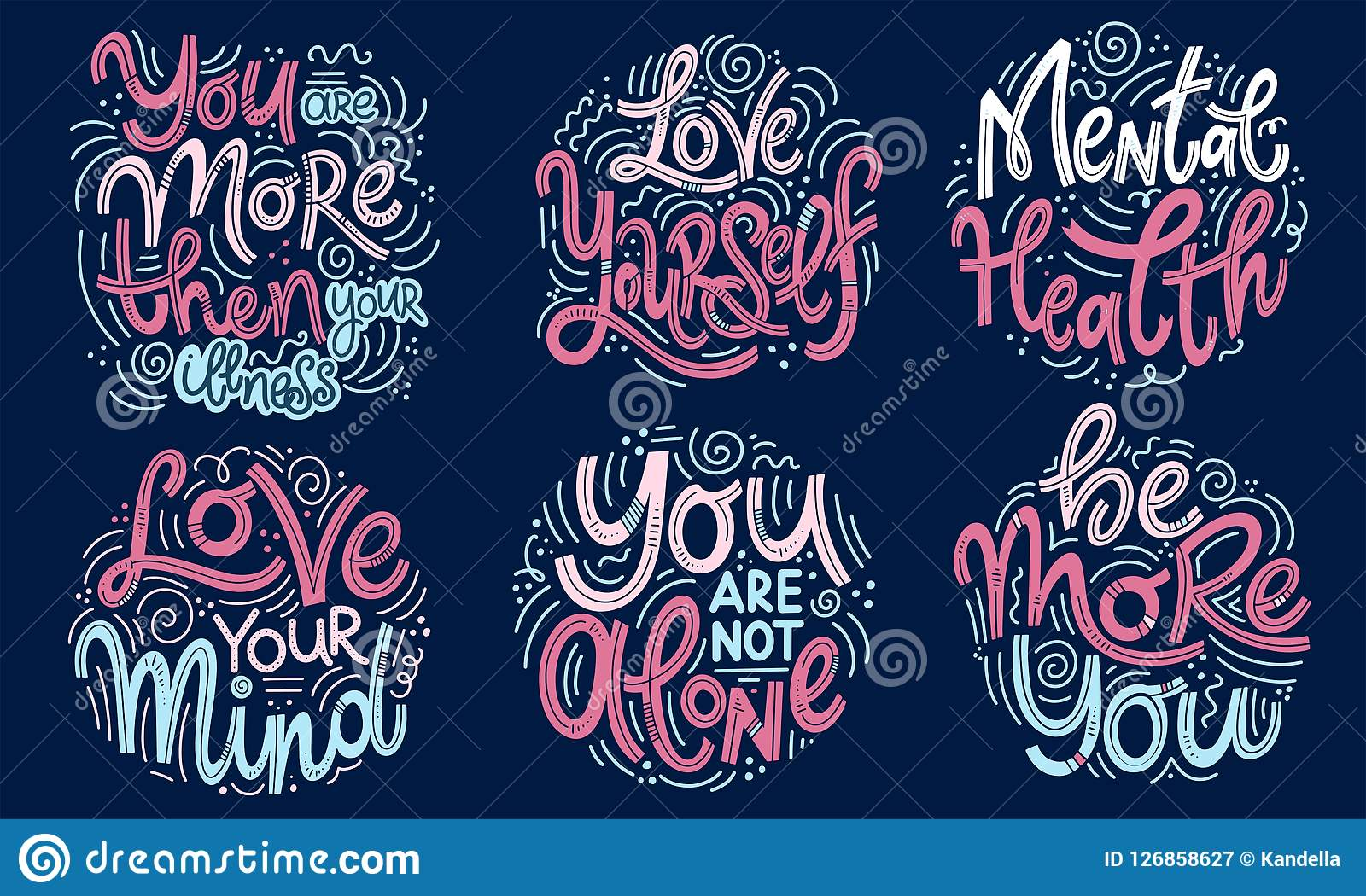 Inspirational Quotes For Mental Health Day Stock Vector