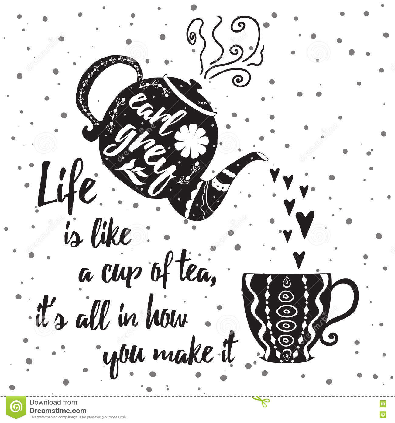 Positive Life Quotes Motivational Printable Card With Tea Cup, Teapot And Positive Life  Positive Life Quotes