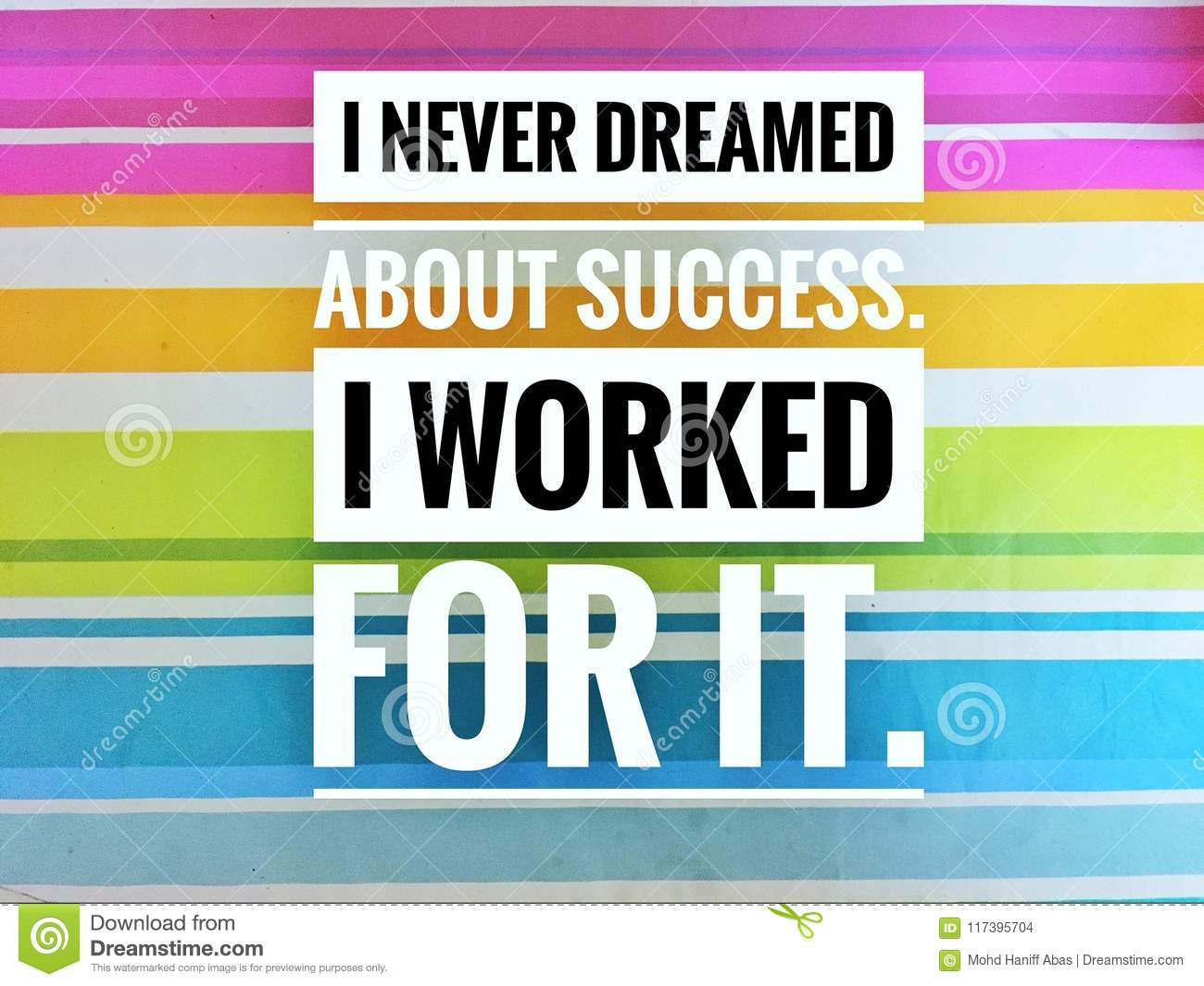 Motivational quotes of I never dreamed about success. i worked for it