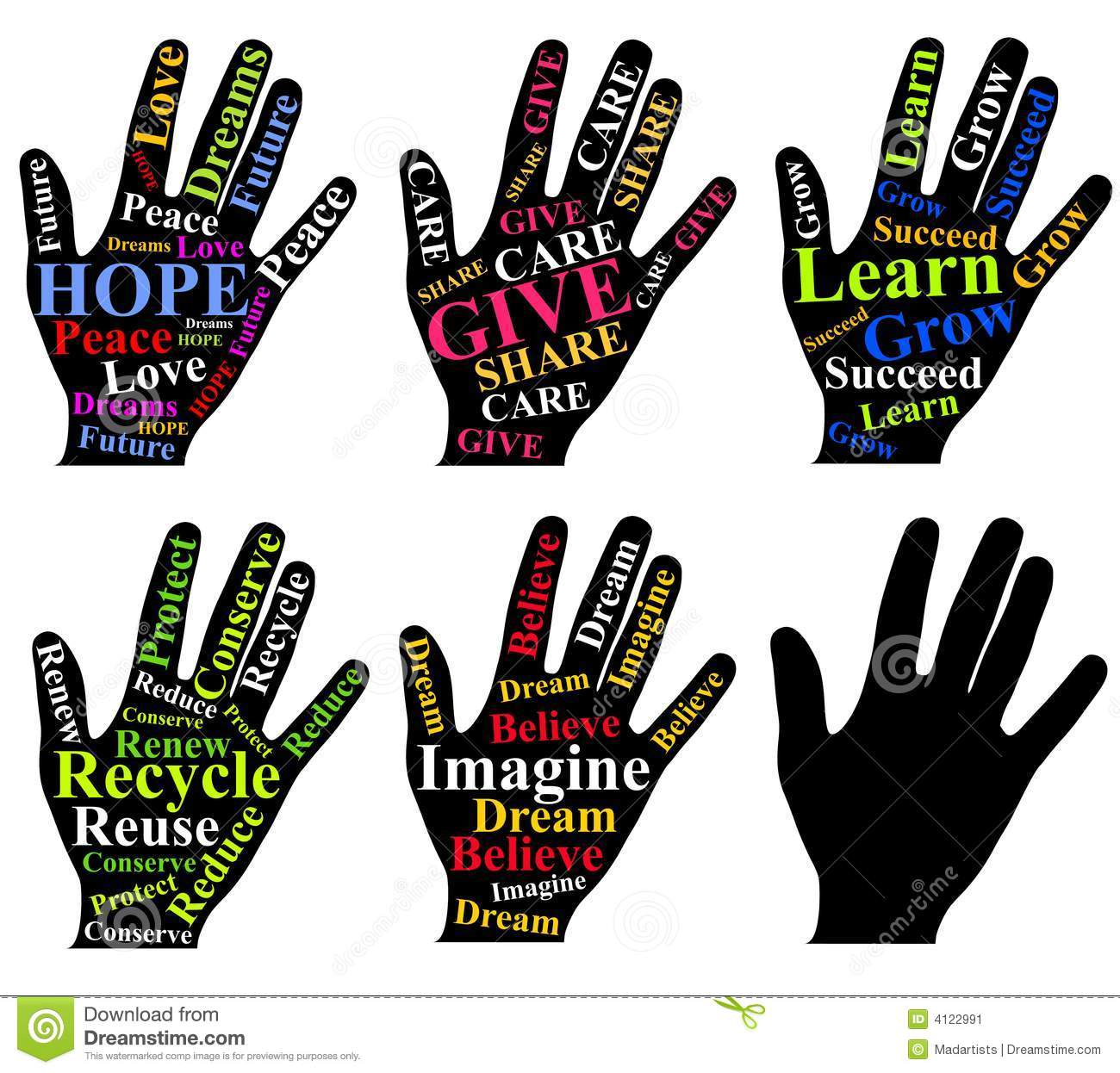 clip art illustration featuring an assortment of hands each ...