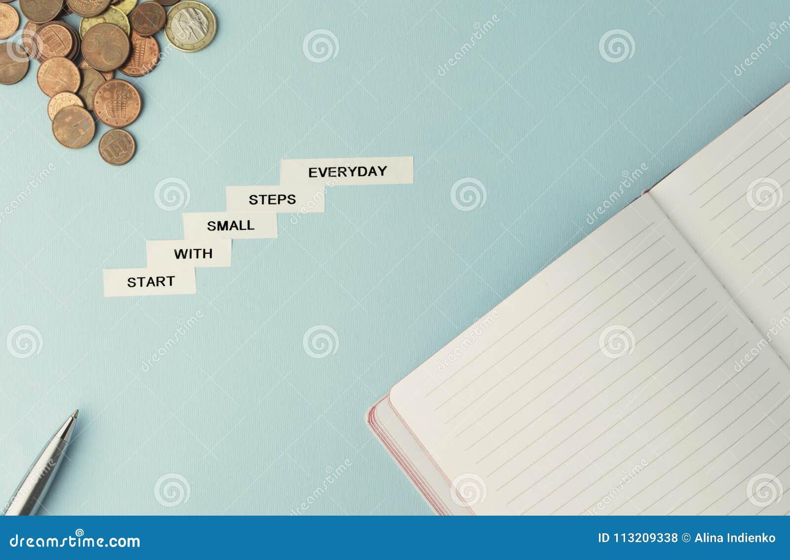 Motivationsgeschäfts-Zitatanfang mit den kleinen Schritten täglich weiß