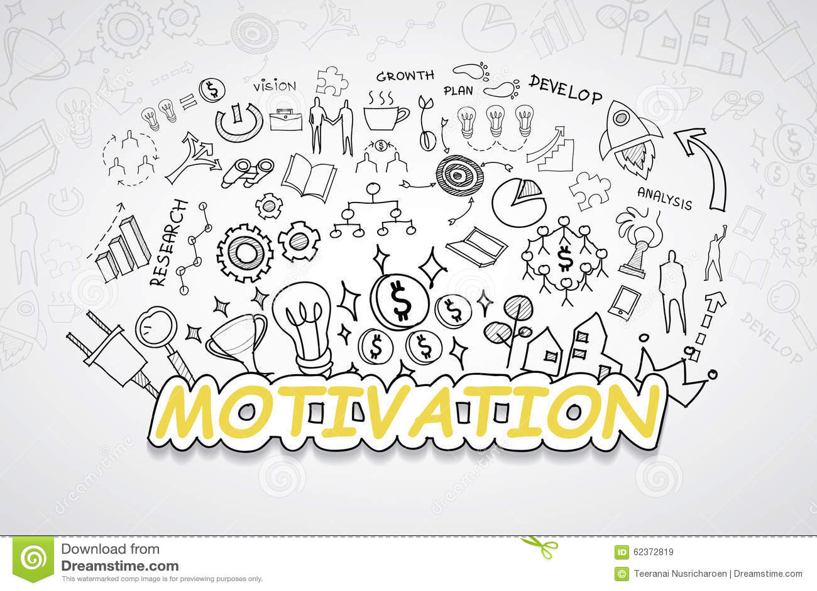 Motivationstext, Mit Kreativer Zeichnungsdiagramm- Und ...