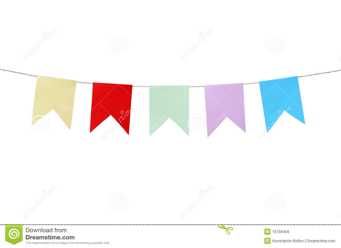 Few motley paper flags hanging with rope on white background. Clipping ...