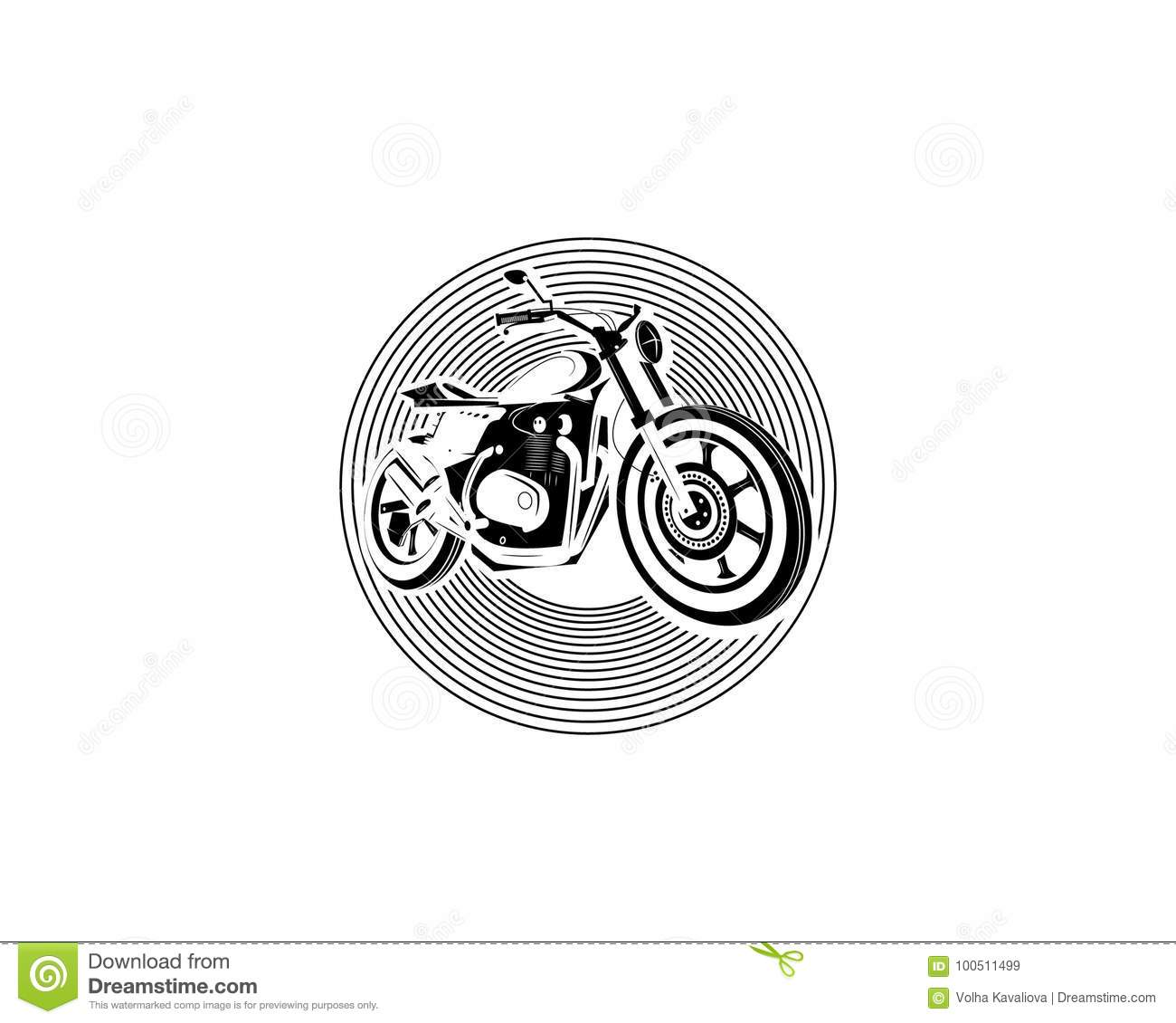 Moto Bike Icon Cafe Racer Stock Vector Illustration Of Drawn
