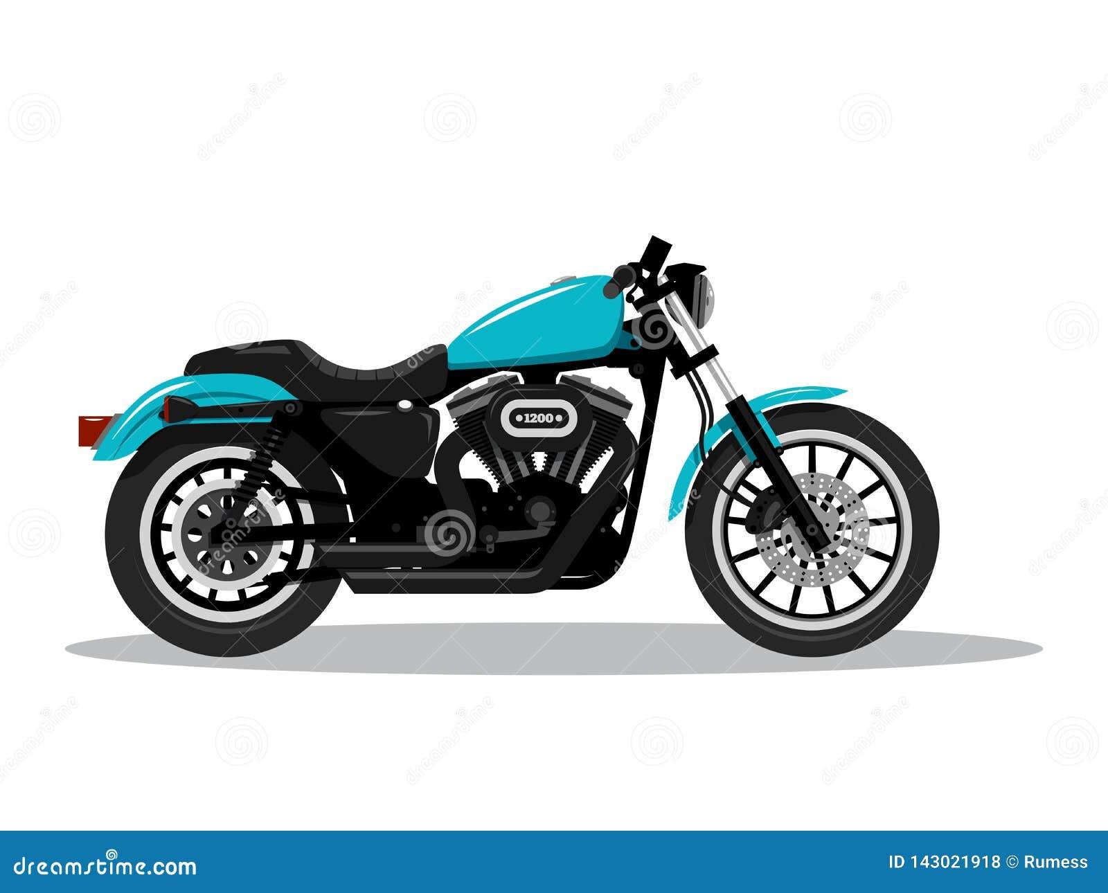 Moto d?taill?e classique dans la conception plate de style Vue de c?t? Illustration de vecteur