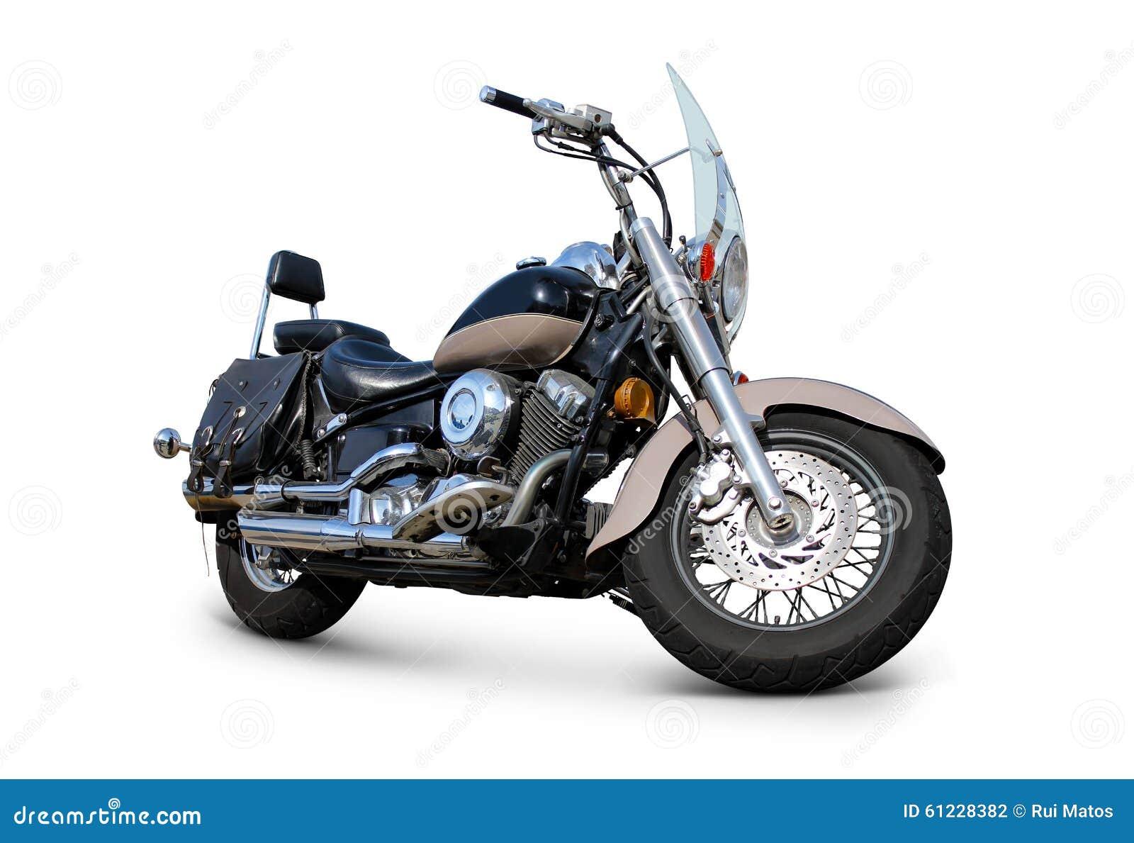 Motocicleta com opinião dianteira do para-brisa isolada no branco