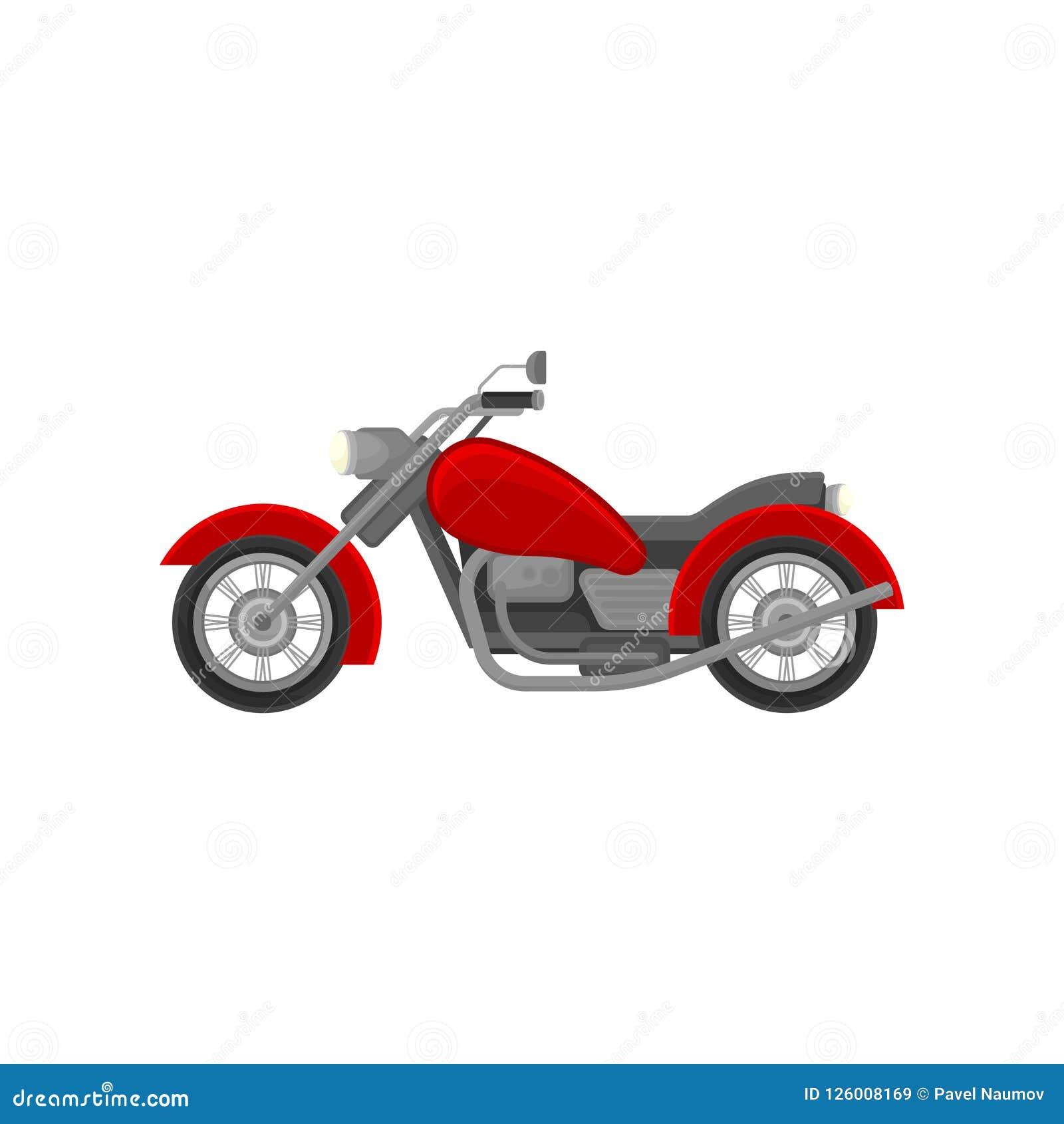 Motocicleta grande da velha escola, vista lateral Velomotor vermelho do vintage Elemento liso do vetor para anunciar o cartaz ou
