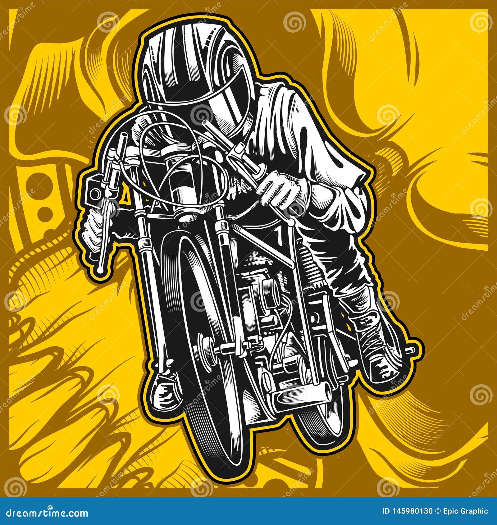 Motocicleta que compete o desenho da mão do vetor