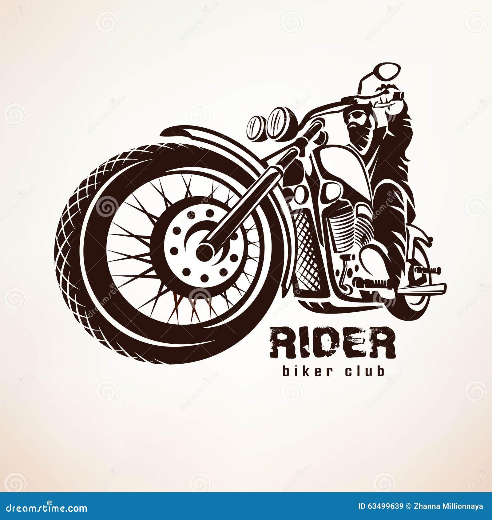 Motociclista, silhueta do vetor do grunge da motocicleta