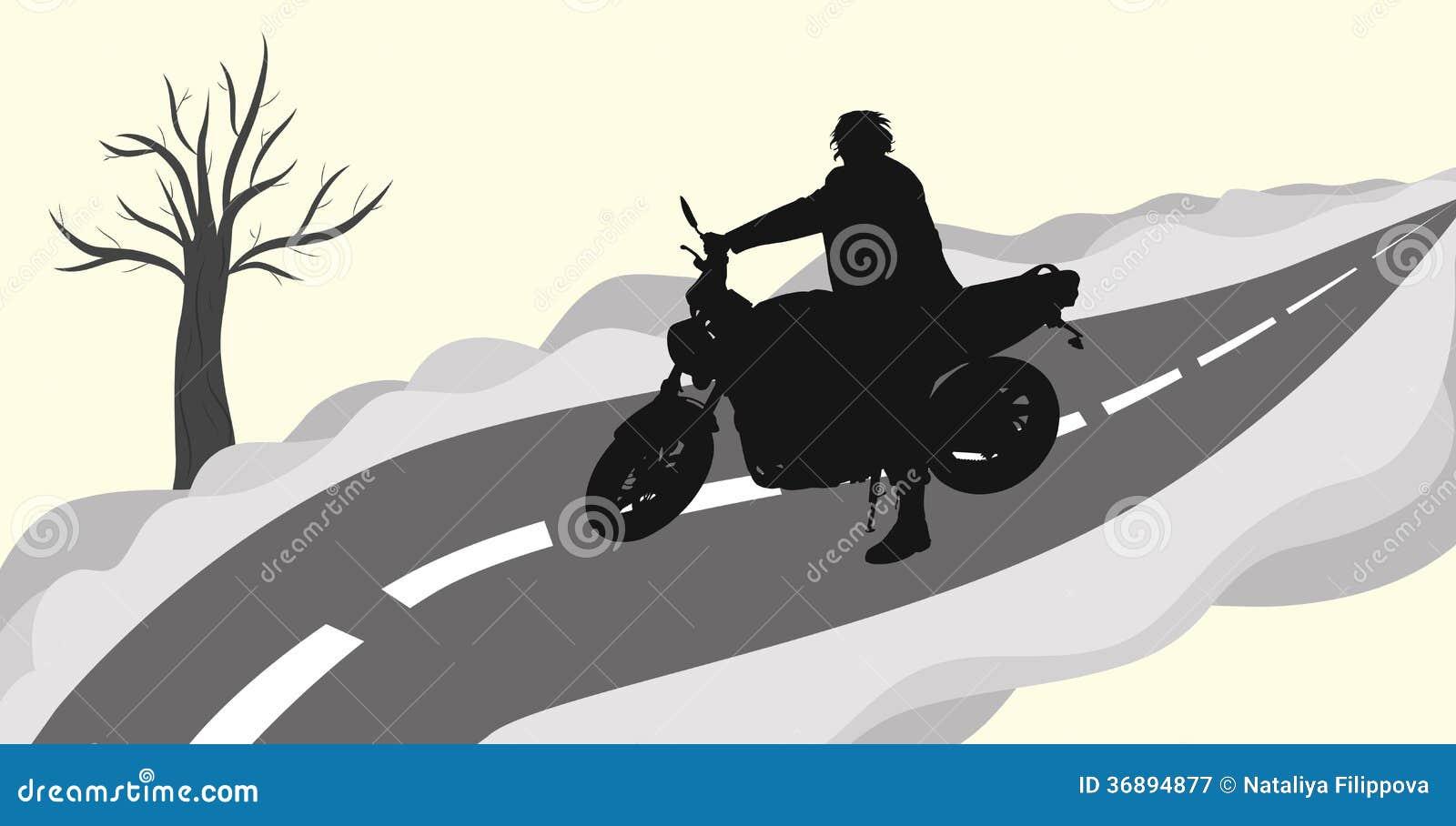 Download Motociclista sulla strada illustrazione vettoriale. Illustrazione di illustrazione - 36894877