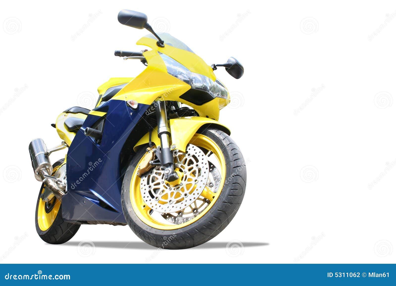 Download Motociclo isolato fotografia stock. Immagine di yellow - 5311062