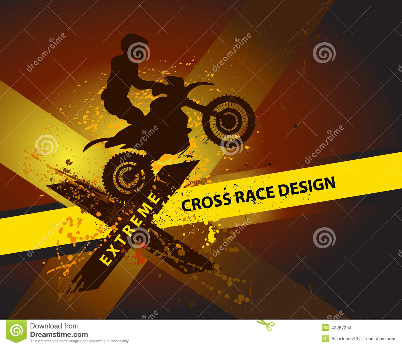 Motocross Background Design With Grunge Element And Place For Text ...