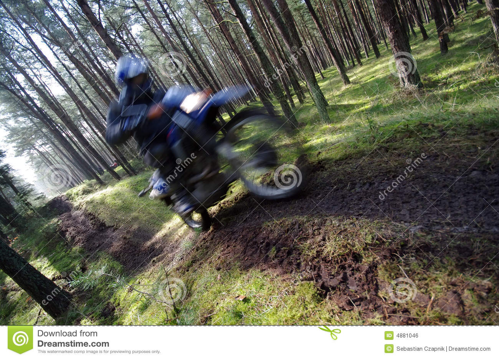 Motocross through forest