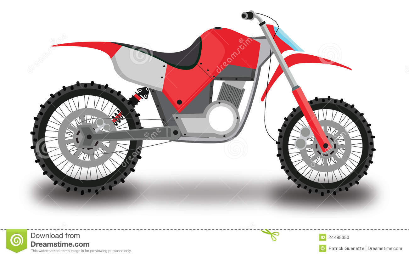 Motocross Motorcycle, Color Illustration Stock Illustration - Illustration of drawing, engine ...