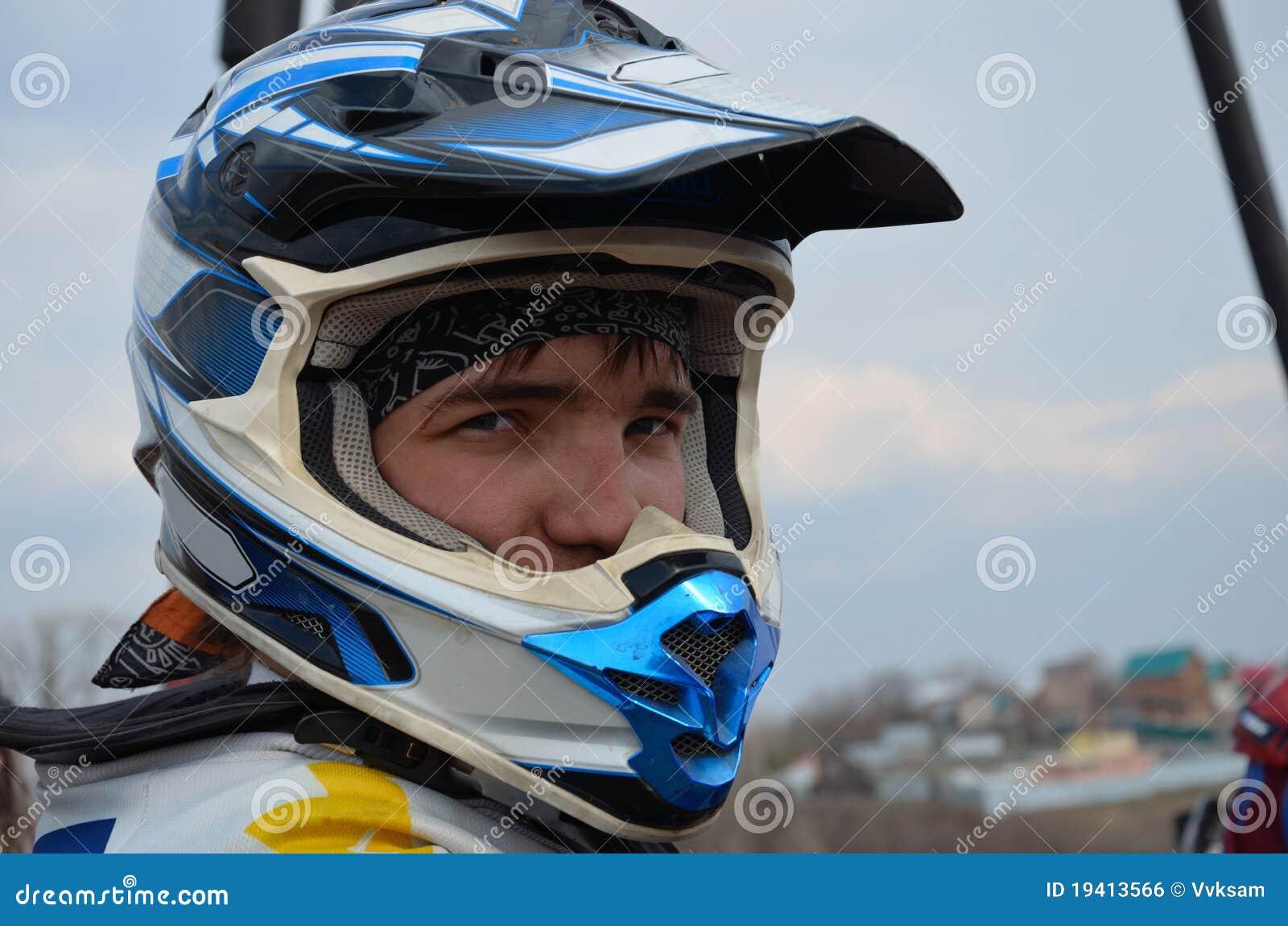 Motocross Rider In A Helmet Stock Photo Image Of