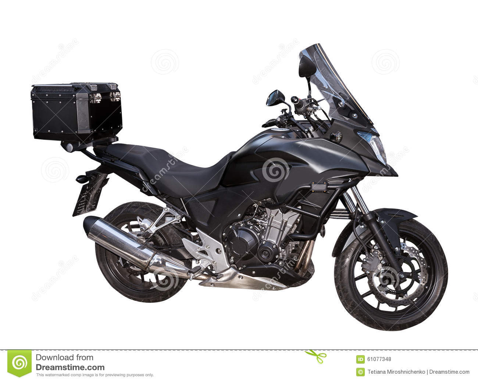 Motocycle nero con la scatola sui precedenti bianchi