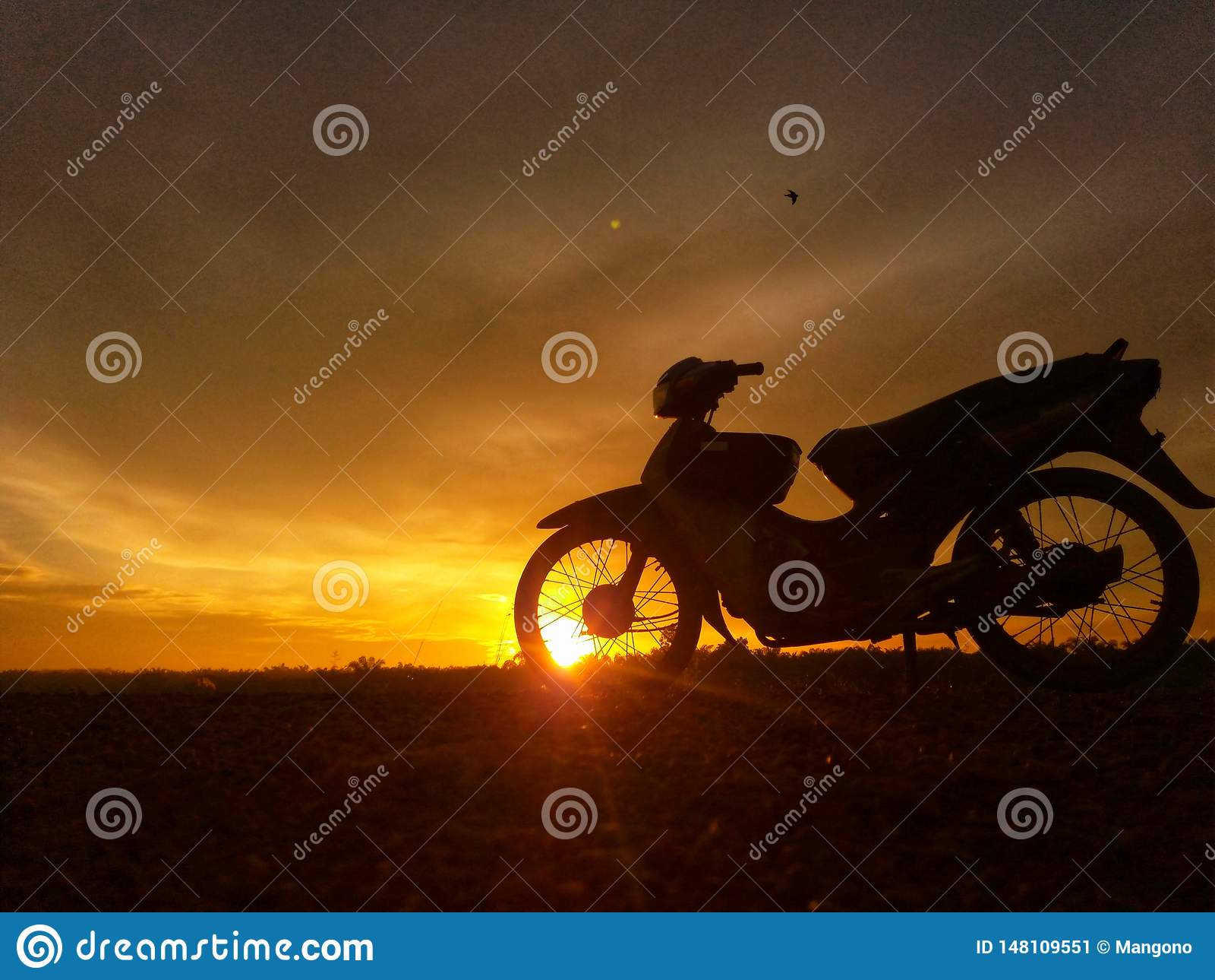 Motocycle in zonsopgang
