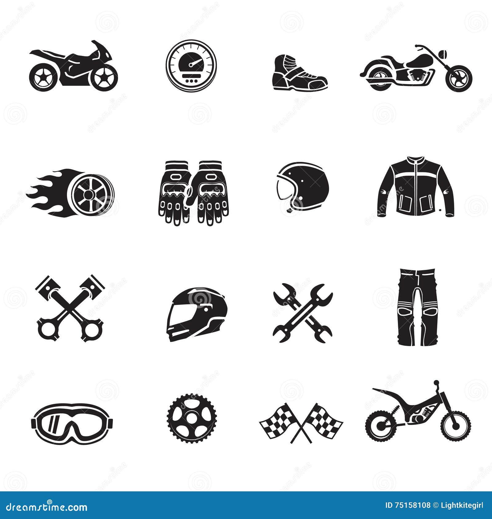 Motocykl ikon czerń ustawiający z transportów symbolami odizolowywał wektor