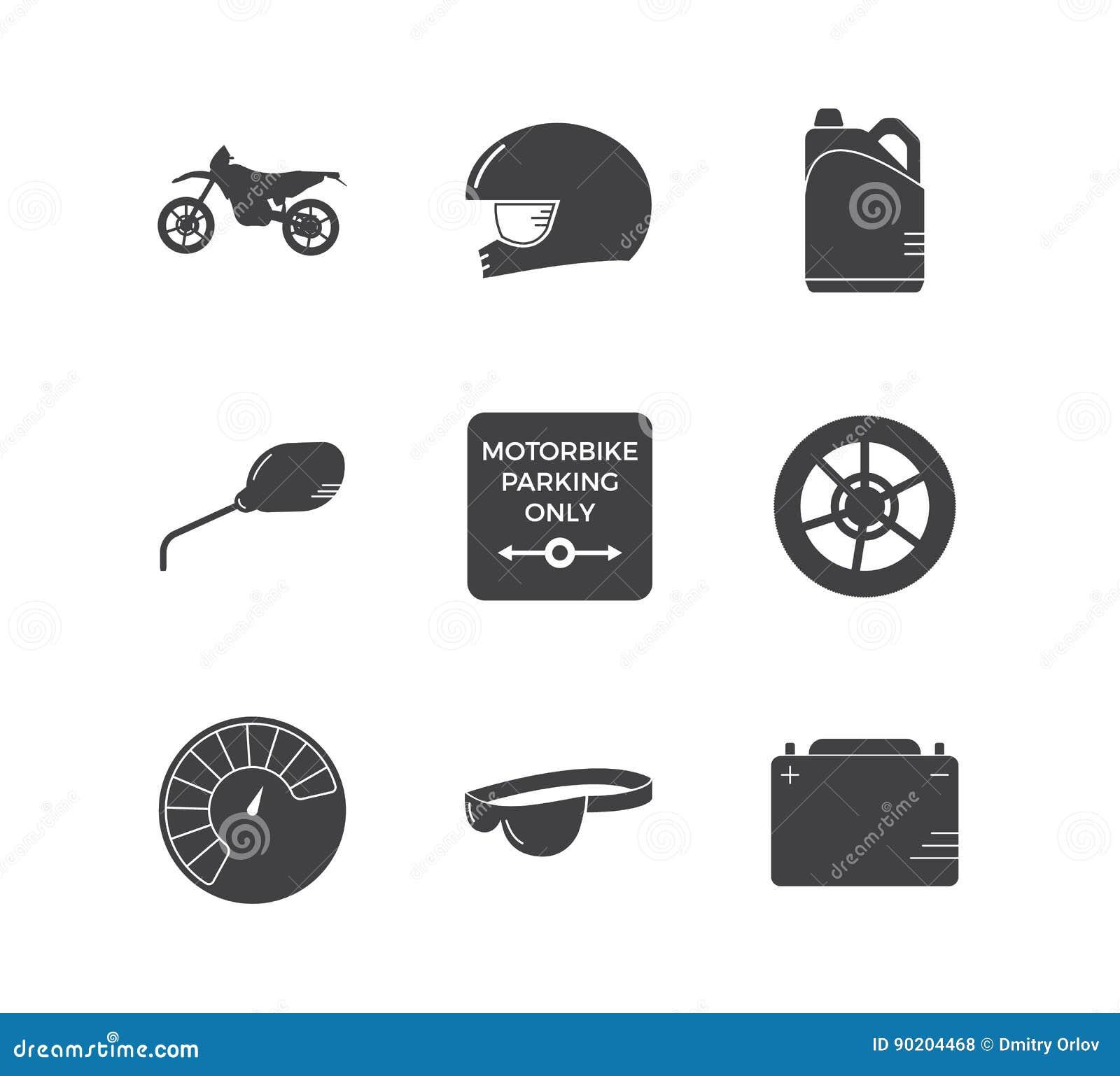 Motocykl ikony bieżny prosty set