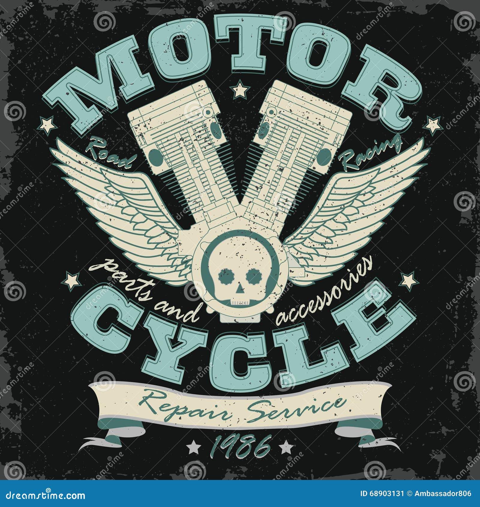 Motocykl typografii Bieżne grafika - wektor