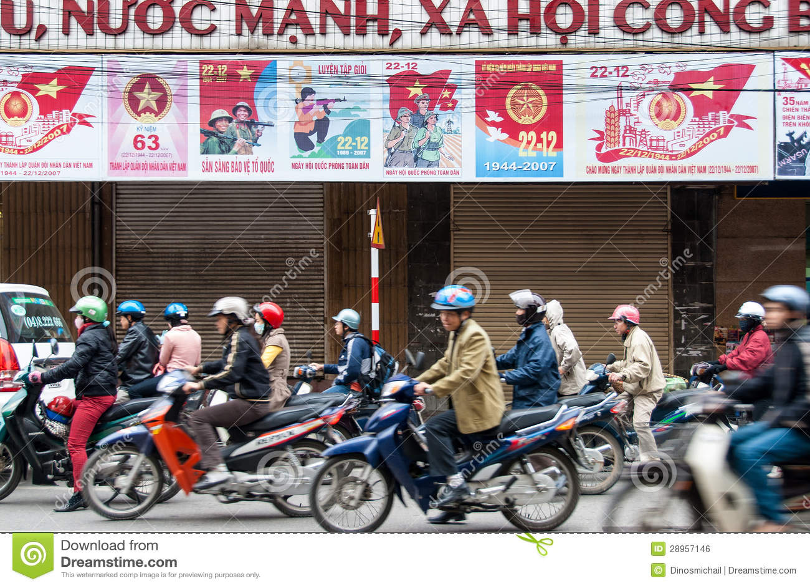 Motocykli/lów kierowcy w Hanoi, Wietnam