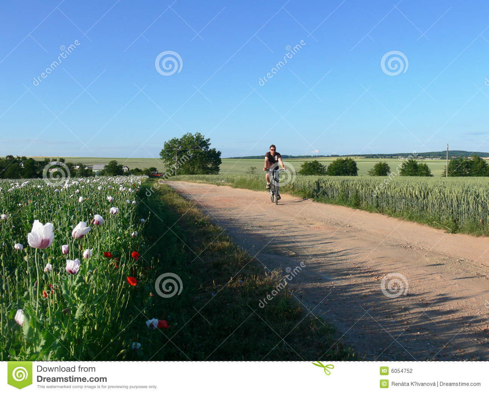 Motocyklista wiejska droga