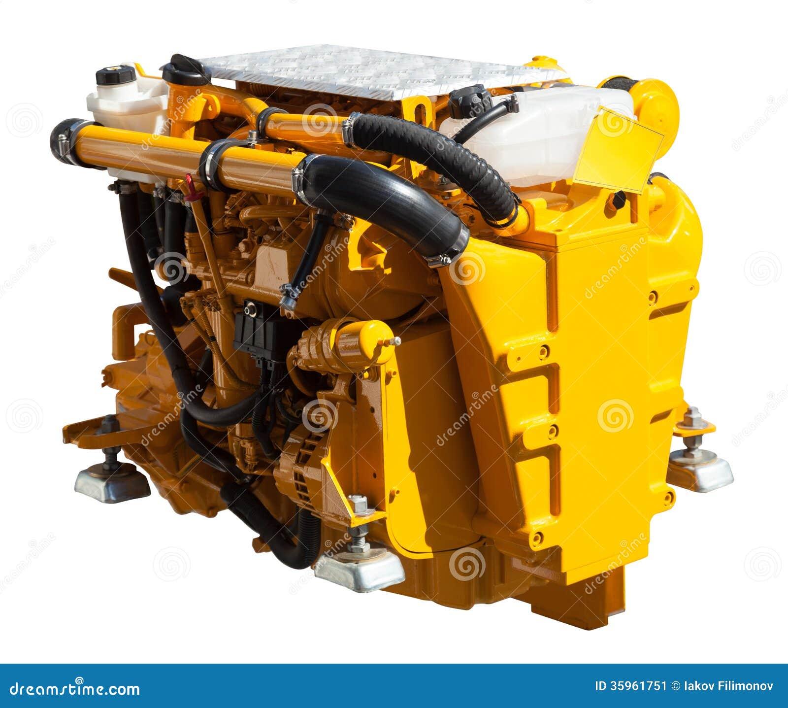 Motor amarillo del barco de motor