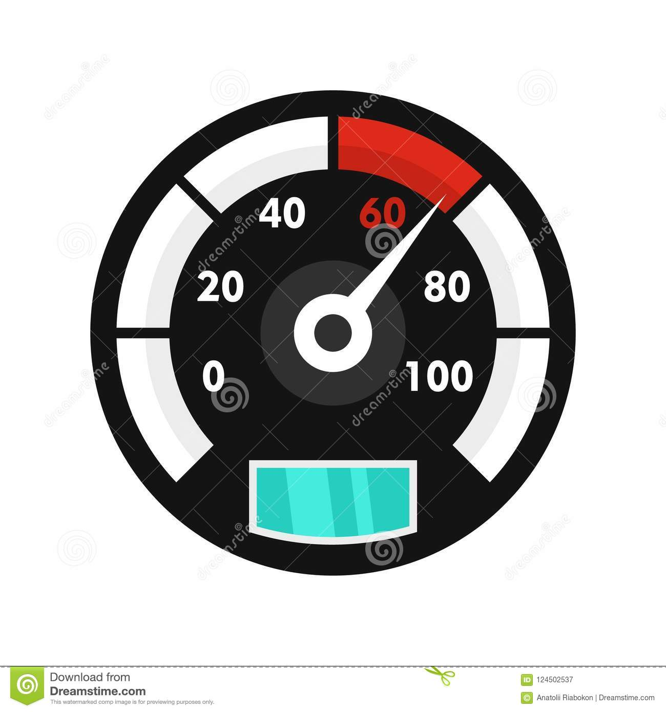 Motor Bike Speedometer Icon, Flat Style Stock Illustration ...