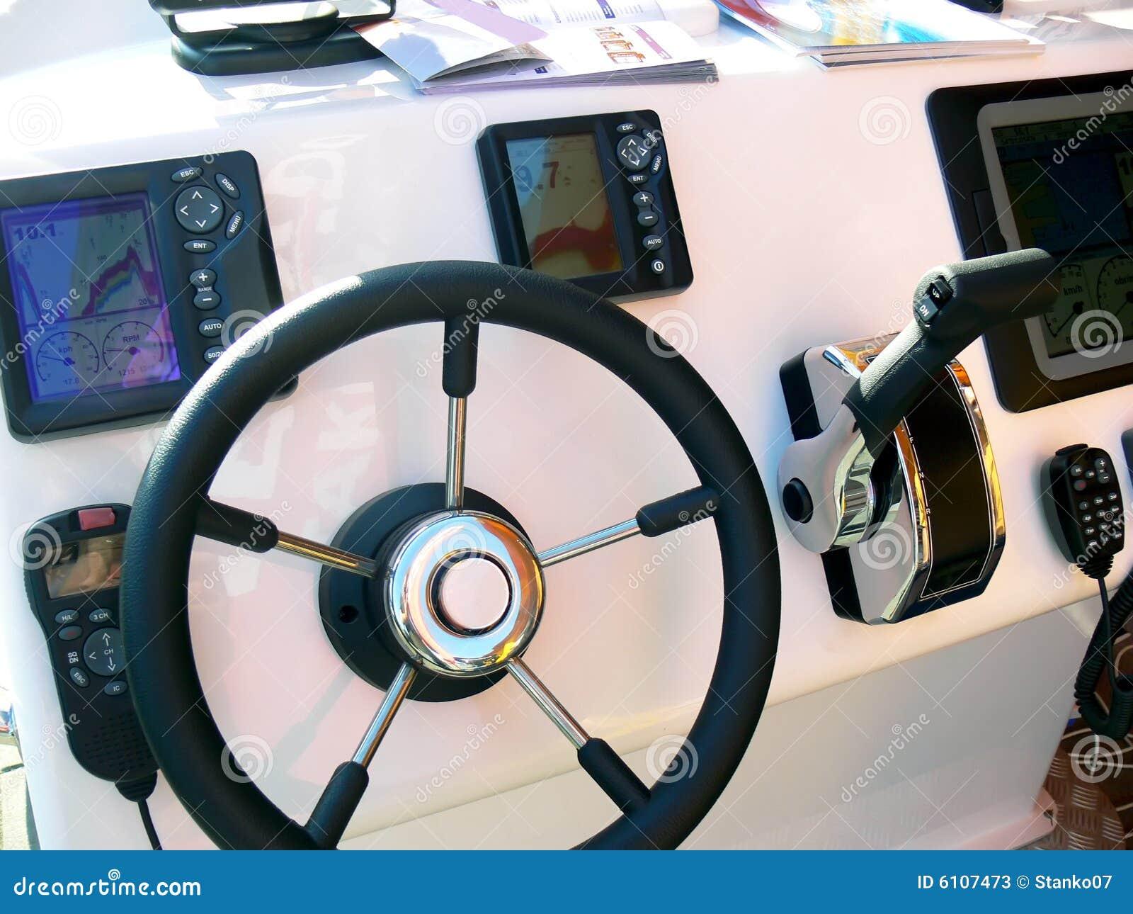 Motor boat control panel stock image. Image of belt ...