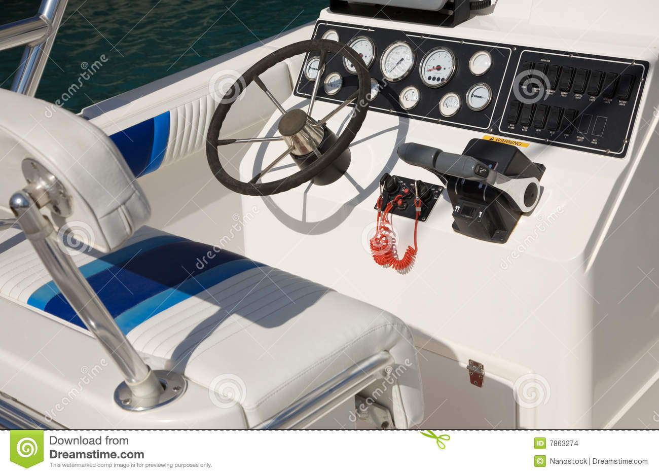 Boat Control Panels : Motor boat control panel stock photo image of white