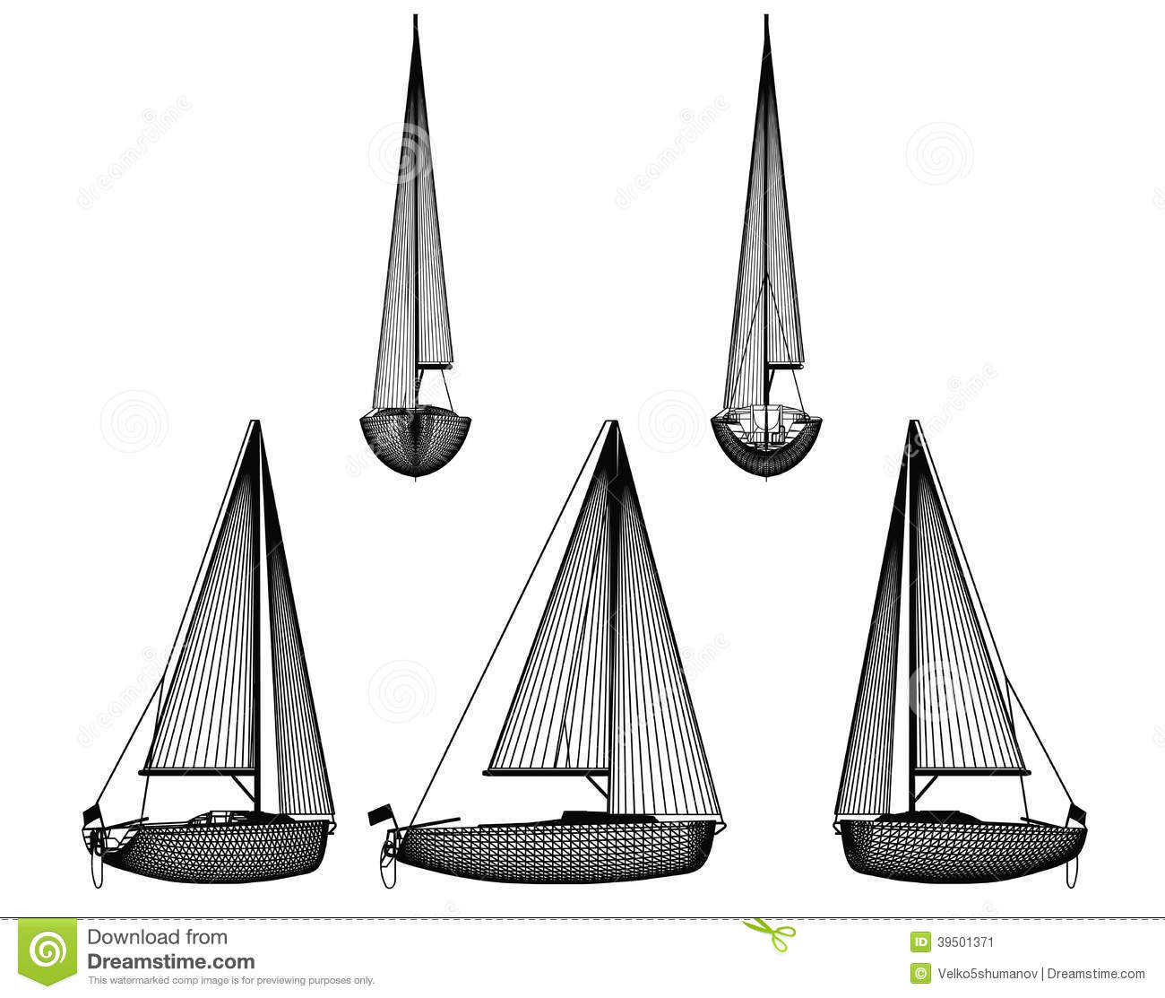 Motor Boat With Sail Stock Illustration - Image: 39501371