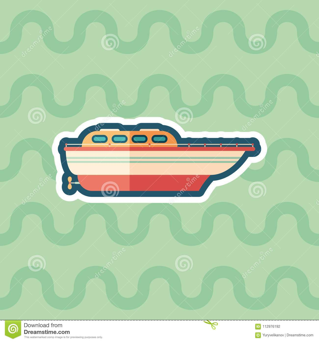 Motor boat sticker flat icon with color background.
