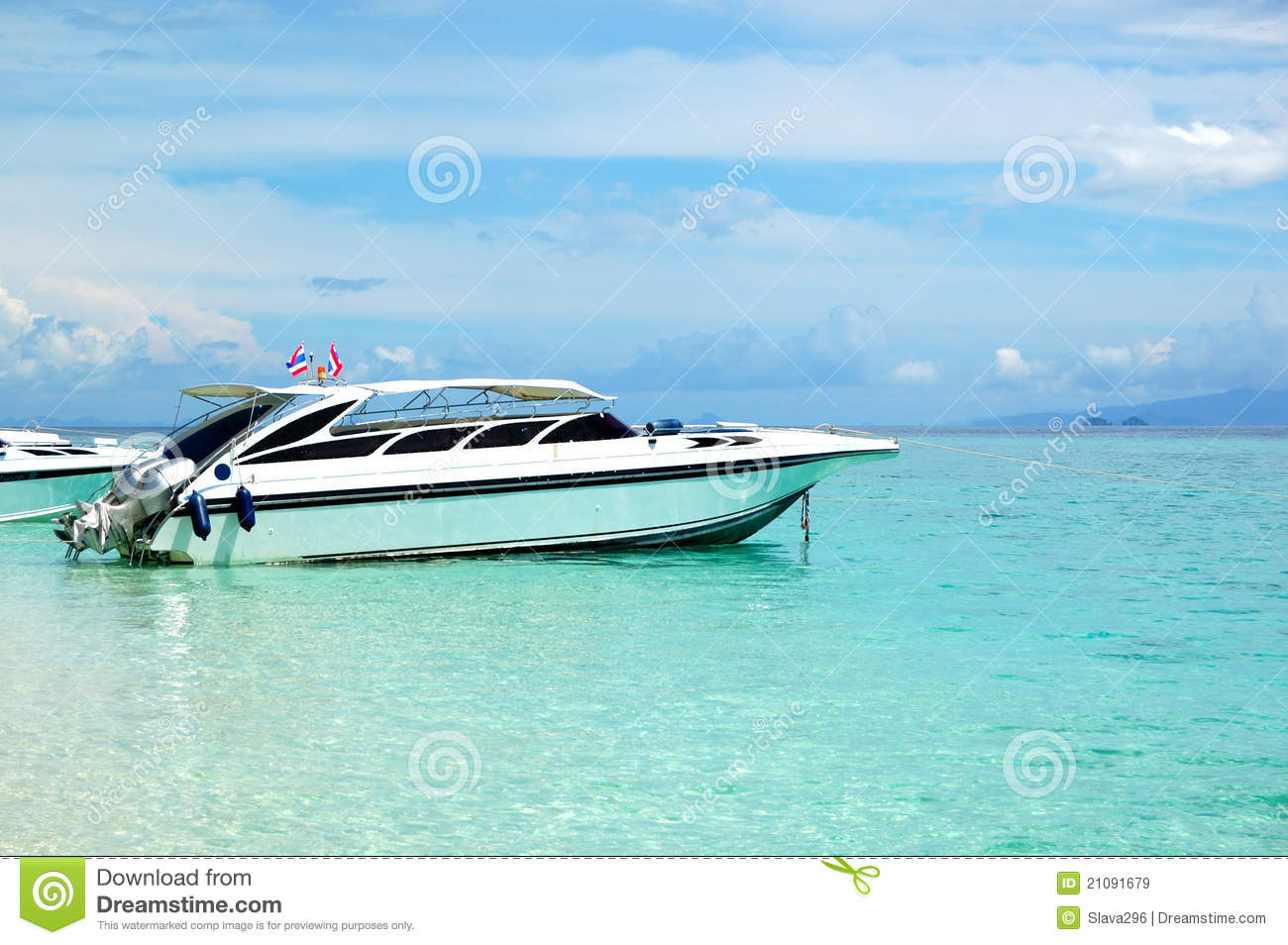 Motor boat on turquoise water of Indian Ocean, Phi Phi island ...